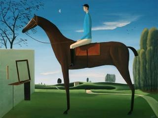 Emilio González Sainz, EL JINETE CELESTE II, 2017. Óleo sobre lienzo, 60 x 81 cm. – Cortesía de JUAN MANUEL LUMBRERAS GALERÍA DE ARTE