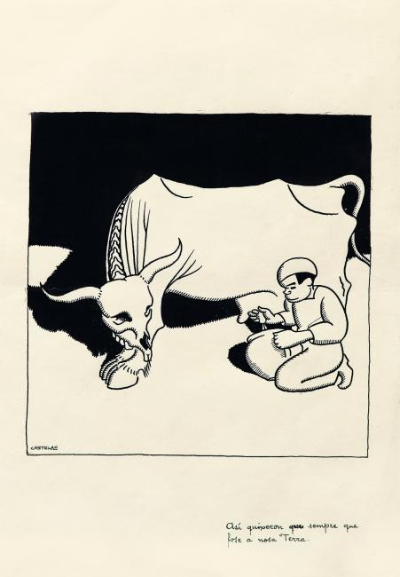 Castelao, Así quixeron sempre que fose a nosa Terra, 1922-24. Tinta sobre papel, 34,3 x 23,7 cm. Colección de Arte ABANCA — Cortesía de la Fundación Gonzalo Torrente Ballester