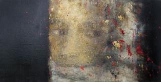 Amaya Bozal, Niña con velo, 100×200 cm., técnica mixta sobre lienzo