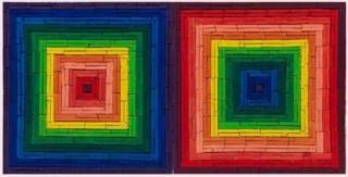 Vik Muniz, Metachrome (Double Scramble, after Frank Stella), 2016, archival pigment print, edition of 6 + 4 AP, 101.6 x 201.4 cm. (40 x 79 1/4 in.) & edition of 6 + 2 AP, 149.9 x 297.2 cm. (59 x 117 in.)