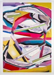 Luis Gordillo, Abstracción objetual. 2018.  Mixta y acrílico sobre lienzo. 312 x 221 cm. — Cortesía de la Galería Rafael Ortiz