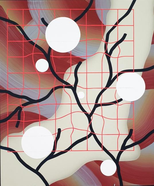 Hell'O Collective. Through the window 3 (2019). Acrílico sobre madera. 50x60cm. — Cortesía de Delimbo