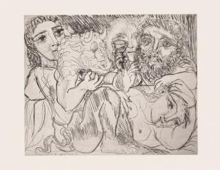 Minotauro, bebedor y mujeres © Sucesión Pablo Picasso. VEGAP. Madrid, 2020.