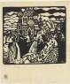 Vasily Kandinsky, Iglesia (Kirche), 1907. Xilografía, imagen, 13,3 × 14,7 cm; lámina: 18,2 × 15,6 cm. The Hilla von Rebay Foundation, préstamo a largo plazo al Solomon R. Guggenheim Museum, Nueva York 1970.141 © Vasily Kandinsky, VEGAP, Bilbao, 2020