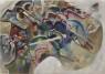 Vasily Kandinsky, Pintura con borde blanco, mayo de 1913. Óleo sobre lienzo. 140,3 × 200,3 cm. Solomon R. Guggenheim Museum, Nueva York, Colección Fundacional Solomon R. Guggenheim, por donación 37.245 © Vasily Kandinsky, VEGAP, Bilbao, 2020