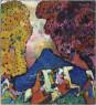 Vasily Kandinsky, La montaña azul (Der blaue Berg), 1908–09. Óleo sobre lienzo, 107,3 × 97,6 cm. Solomon R. Guggenheim Museum, Nueva York, Colección Fundacional Solomon R. Guggenheim, por donación 41.505 © Vasily Kandinsky, VEGAP, Bilbao, 2020