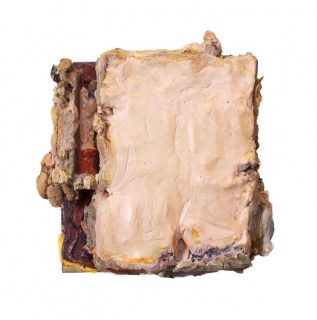 """Edgar Sanchez Cumbas, """"NO. This Is Not the Color of Flesh,"""" wood, heavy gesso, acrylic polymer paint, and unsanded mortar, 12"""" x 11"""" x 8"""", 2018 — Cortesía del SCAD Museum of Art"""
