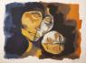 Oswaldo Guayasamín (Quitos, 1919 – Baltimore, 1999). Maternidad. Hacia 1990. Litografía sobre papel 55 x 70 cm. — Cortesía de Gothlsland Galeria d'Art
