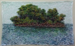 Cristiane Mohallem, ilha/2015/16, linha de algodão em linho, 93 x 143 cm.