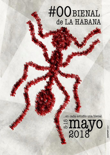 Uno de los carteles que formará parte de la campaña promocional de la #00Bienal de La Habana. Cortesía de la organización y de su autor: Alein Somonte