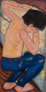 Ulises Mazzucca, Respiras solo cuando estás en la almohada, 2019. Pastel tiza sobre papel, 100 x 50 cm