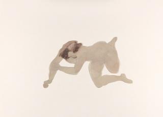 Auguste Rodin, Mujer desnuda tendida de costado, con brazos y piernas plegados. Dibujo recortado © Musée Rodin (photo Jean de Calan) — Cortesía de la Fundación Canal