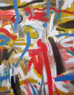 Trazos danzantes. Mixta sobre tela, 146x114 cm.