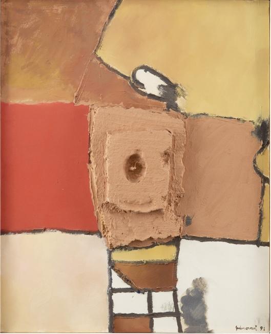 Guinovart, Petit cup i vermell, Mixta s/tela, 100 x 80 cm. — Cortesía de la Galería Atelier