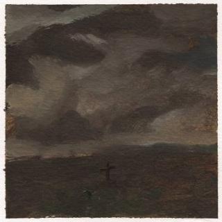 José Luis Valverde, Selva del tiempo. 2021 Óleo sobre papel. 20 x 20 cm. — Cortesía de JM Galería
