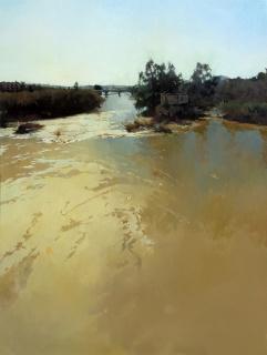 """""""Efecto de luz II, río"""" (130x97cm. Mixta sobre lienzo)"""