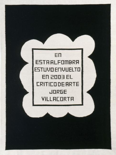 Alberto Casari. La alfombra Villacorta (2003). Tejido lana de llama. 250 x 180 cm. Foto: Cortesía Colección Armando Andrade de Lucio y el artista — Cortesía de Cisneros Fontanals Foundation