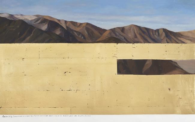 Sandra Gamarra. Paisaje III (2015). Falso oro y óleo sobre tela. 100 x 162 cm. Foto: Cortesía Colección Alberto y Ginette Rebaza y el artista — Cortesía de Cisneros Fontanals Foundation