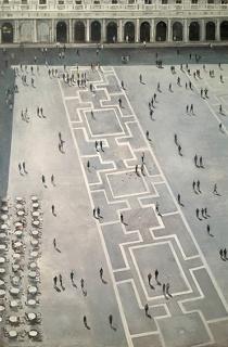 Federico Granell, Piazza San Marco desde el campanile. Óleo/lienzo. 146x 97 cm. — Cortesía de la Gaklería Gema Llamazares