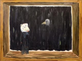 Cristina Lama, La fábula. 2019. Óleo sobre tela. 97x130 cm. — Cortesía de Delimbo Gallery
