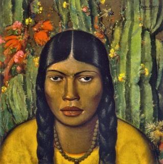 Alfredo Ramos Martínez, Mancacoyota, 1930, oil on cardboard, Colección Andrés Blaisten, Mexico. © The Alfredo Ramos Martínez Research Project, reproduced by permission — Cortesía del Dallas Museum of Art