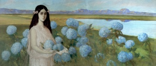 Alfredo Ramos Martínez, Landscape with a Girl and Hydrangeas, c. 1916, Museo Nacional de Arte ©D.R. Museo Nacional de Arte/ Instituto Nacional de Bellas Artes y Literatura 2020 and The Alfredo Ramos Martínez Research Project, reproduced by permission