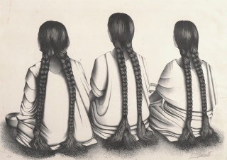 Francisco Dosamantes, Three Women with Braids, n.d., lithograph, Dallas Museum of Art, Dallas Art Association Purchase, 1951.88. Image courtesy Dallas Museum of Art — Cortesía del Dallas Museum of Art