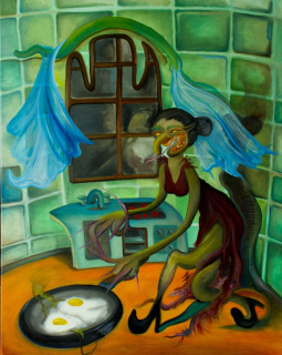 Tobias Dirty. Astucia, 2019. Oil on canvas. 100 x 70 cm (39.37 x 27.55 inches). Tobías Dirty© — Cortesía de la Galería Agustina Ferreyra