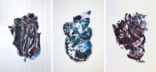Heart of darkness 7, 8 & 9 (2016) de Rodrigo Zamora. Acuarela sobre papel. 140 x 100 cm. cada pieza — Cortesía del Museo de Artes Visuales (MAVI)