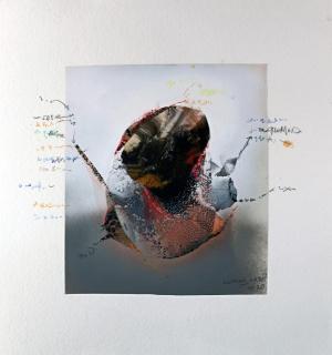 Microbiología 2 · Técnica mixta sobre papel · 50 x 47 cm. · 2020