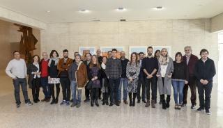 Artistas becados en la 1ª edición, junto con los miembros del comité asesor de la Fundación Villalar CyL y su presidenta Silvia Clemente. Cortesía de la Fundación Villalar