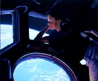 João Fonte Santa, Tracy Caldwell Dysons a 350 km sobre a Terra, 2015-2018, acrylic on canvas, 80 x 100 cm — Cortesía de Caroline Pagès Gallery