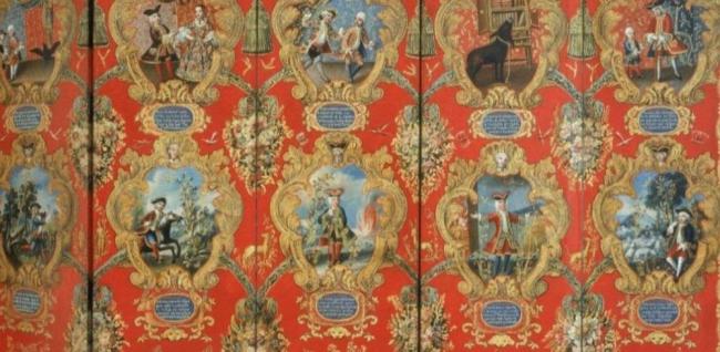 Biombo novohispano: Entrada de un Rey español a Madrid — Cortesía de Casa de México en España