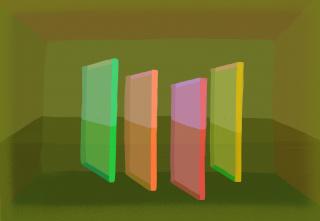2021, Lucía Rodríguez, Sin Título (Plexi), 2021, Luz en Pantalla, dimensiones variables — Cortesía de la Sala de Arte CCU