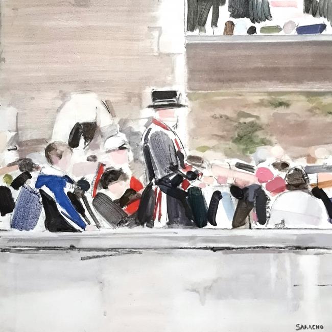 PEOPLE ON THE BRIDGE 50 x 50 cm., acrílico sobre lienzo