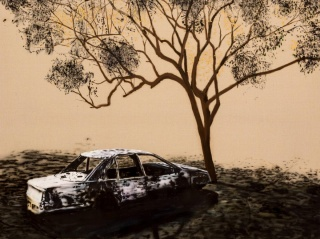 William Mackinnon, Phoenix (III), 2019. Acrylic, oil and automotive enamel on canvas, 150 x 200 cm — Cortesía de Art Projects Ibiza