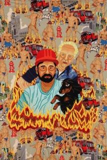Chiachio & Giannone. Bomberos, 2012. Bordado a mano con hilos de algodón, rayon y efecto joya sobre tela Alexander Henry, 142 x 104 cm