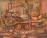 Orlando Pelayo, Poissons et oursins (1955) — Cortesía del Museo de Bellas Artes de Asturias