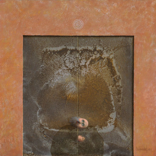 """Alfredo Castañeda, """"Para hacerse invisible II (La puerta)"""", 2007 . Óleo sobre lienzo. 40 x 40 cm"""