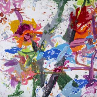 Jorge Galindo, Doble vida, 2020. Óleo sobre lienzo, 300x300 cm. — Cortesía de la Galería Helga de Alvear
