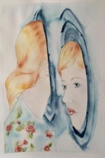 ?ALEJANDRA ALARCÓN. Alicia y el espejo.  2016. Acuarela sobre papel. 35 x 50 cm