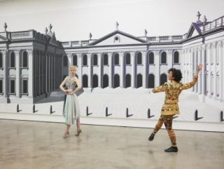 Pablo Bronstein, Tragic Stage, 2011. Acrylic on canvas, 3.5 x 16 m. Performance view. Institute of Contemporary Arts, London. Courtesy of Herald St, London and Franco Noero, Torino © Pablo Bronstein
