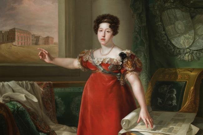 María Isabel de Braganza como fundadora del Museo del Prado.Bernardo López Piquer. 1829.Museo Nacional del Prado. Cortesía del museo