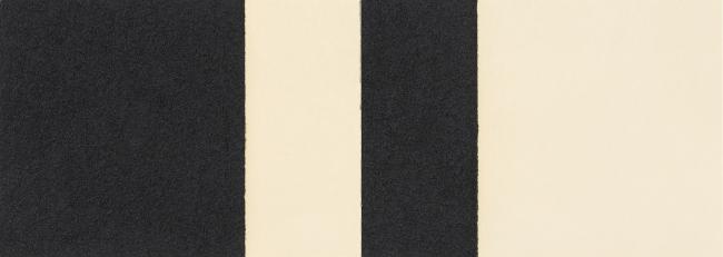 Richard Serra, Horizontal Reversal I, 2017. Barra de óleo aplicado a mano sobre dos hojas de papel, 38 x 107 cm. Edición 50 ejemplares — Cortesía de La Caja Negra Ediciones