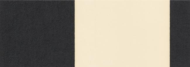 Richard Serra, Horizontal Reversal VIII, 2017. Barra de óleo aplicado a mano sobre dos hojas de papel, 38 x 107 cm. Edición 50 ejemplares — Cortesía de La Caja Negra Ediciones
