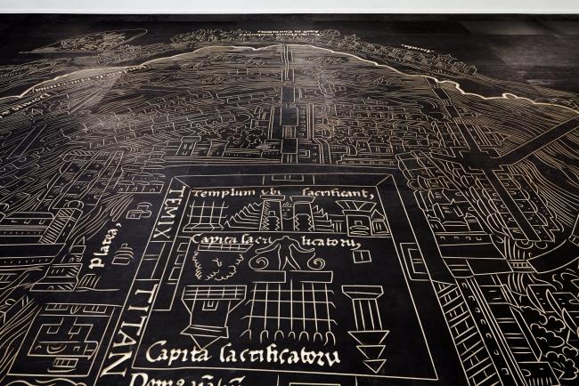 Mariana Castillo Deball, Nuremberg Map of Tenochtitlan 2013, Wood and ink, Overall dimensions variable — Cortesía del MACBA