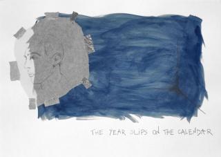 Cabello / Carceller. Notas al pie: El tiempo (con Derek Jarman), 2020. Acuarela, grafito, papel seda, cinta adhesiva sobre papel Geler mate — Cortesía de Galeria Joan Prats