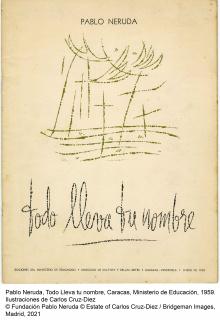 Pablo Neruda, Todo lleva tu nombre, Caracas, Ministerio de Educación, 1959. Ilustraciones Carlos Cruz-Díez © Fundación Pablo Neruda © Estate of Carlos Cruz-Diez / Bridgeman Images, Madrid, 2021 — Cortesía del MNCARS