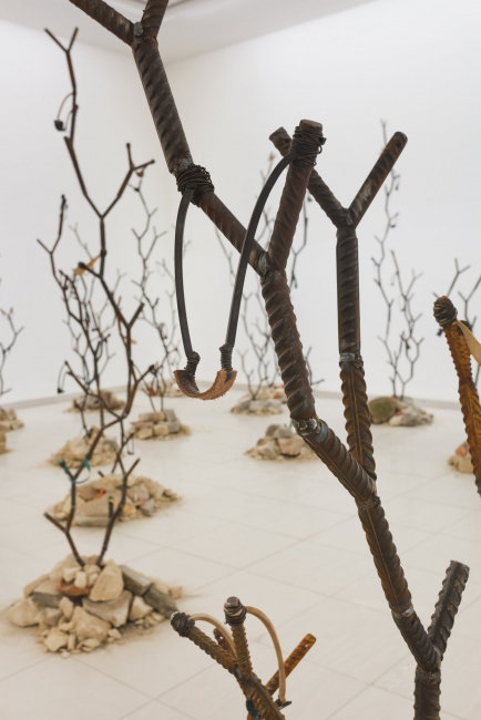 "Kader Attia 5a-b. Intifada: The Endless Rhizomes of Revolution, 2016. Exhibition view ""Sacrifice and Harmony"", at MMK Museum fuer Moderne Kunst, . Frankfurt/Main, 2016. Courtesy of the artist and Galerie Krinzinger. Photo: Axel Schneider"