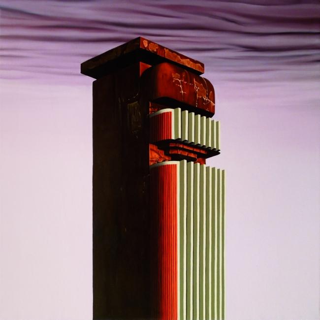 Adamo Dimitriadis, Torre de Silencio, 2018, 80x80 cm. — Cortesía de la Galería Utopía Parkway